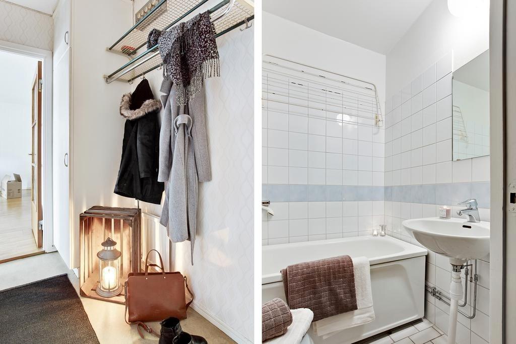 I hallen har du bra förvaringsmöjligheter i både en garderob och den rymliga klädkammaren i direktanslutning till hallen. Badrummet är helkaklat och har badkar.