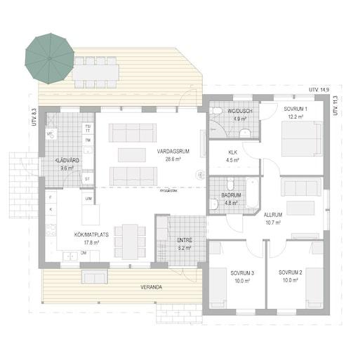 Planlösning  för villa Kobbskär från A-hus.