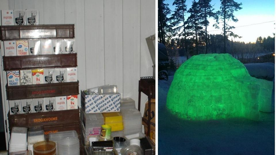 """Famljen samlar under hela året på plastlådor. Här ser vi is-igloon upplyst med en grön """"ljusslang"""" på kvällen."""