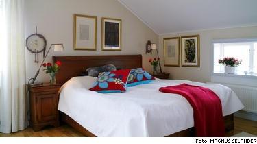 Ett sovrum inrett enligt feng shui läran.Sängen står i kraftfosition mot en vägg med koll på dörren. Två kuddar på sängen symboliserar tvåsamhet. Rummet är fritt från elektromagnetisk utrustning och väggarna är målade i en lugn dämpad jordfärg.