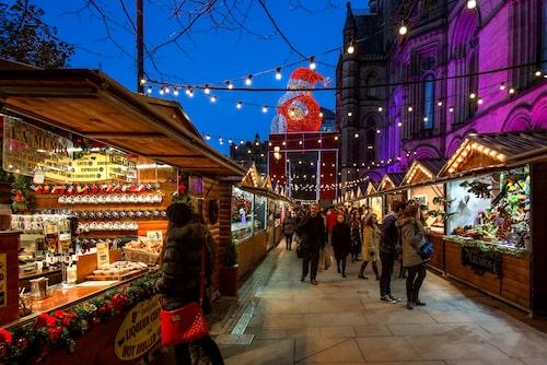 Manchester, den första julmarknaden i Storbritannien.