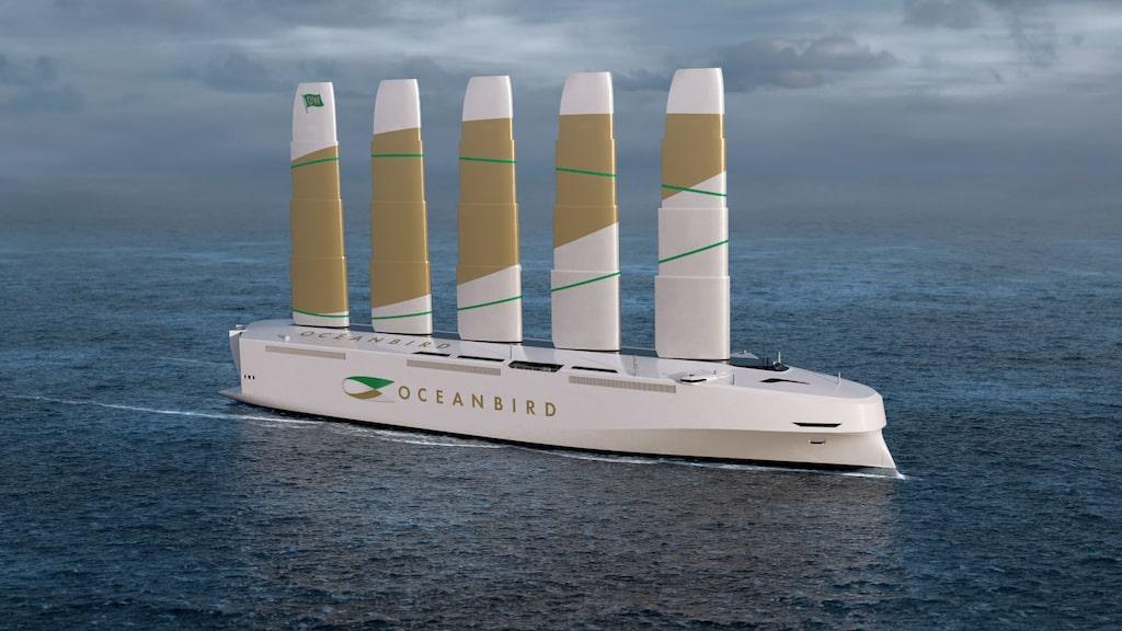 Oceanbird kommer att kunna frakta 7 000 bilar över Atlanten med segeldrift.