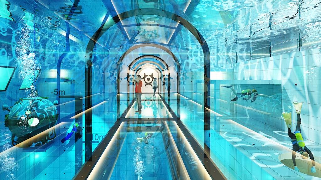 Undervattenstunneln där du kan uppleva vattnet men förbli torr.