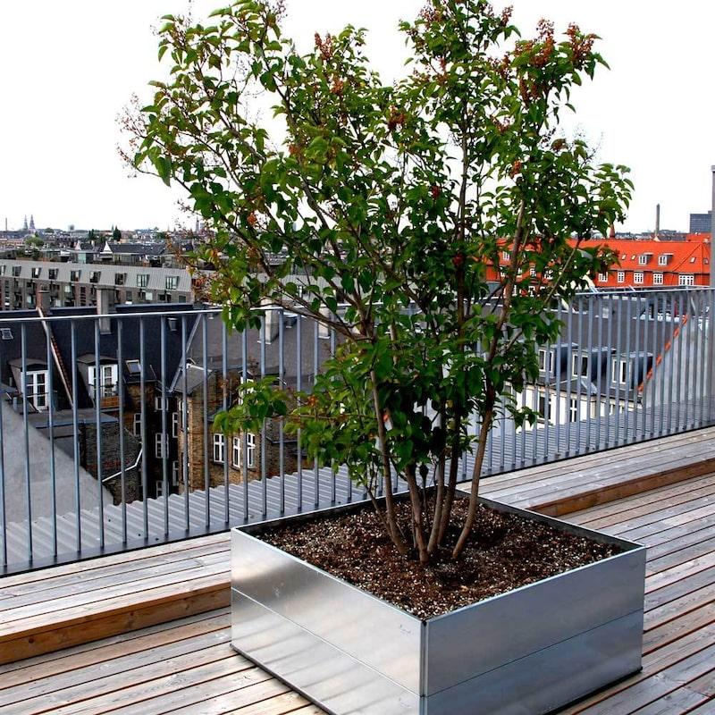 Den kvadratiska odlingslådan från Land finns i 4 olika storlekar, i både obehandlat och galvaniserat järn. Den tillverkas också i en mobil variant samt med snigelstaket. Kan även användas som odlingsbänk.