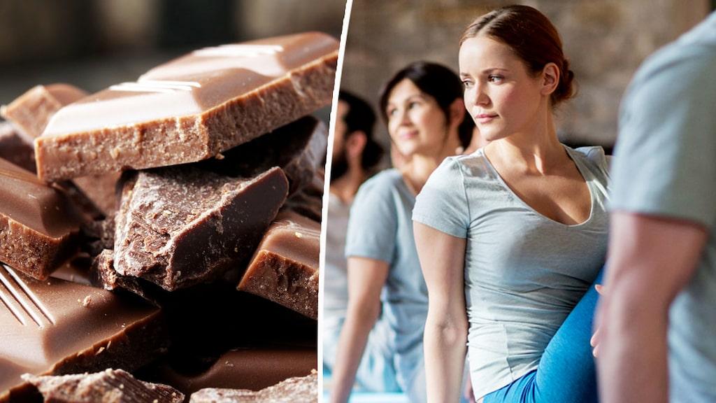 Choklad + yoga = sant.