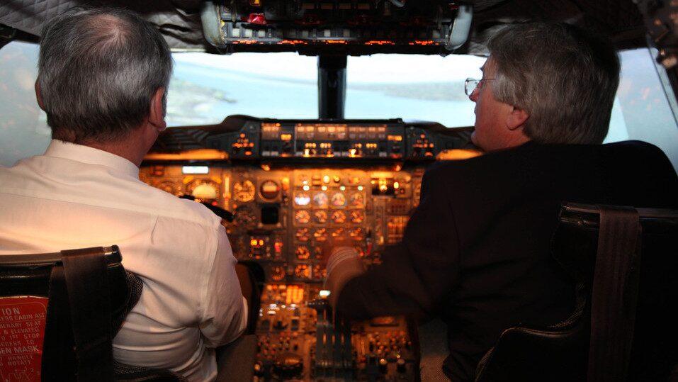 På museet får du även kliva in i flygplanet. Bild från en flygsimulator för Concorde.
