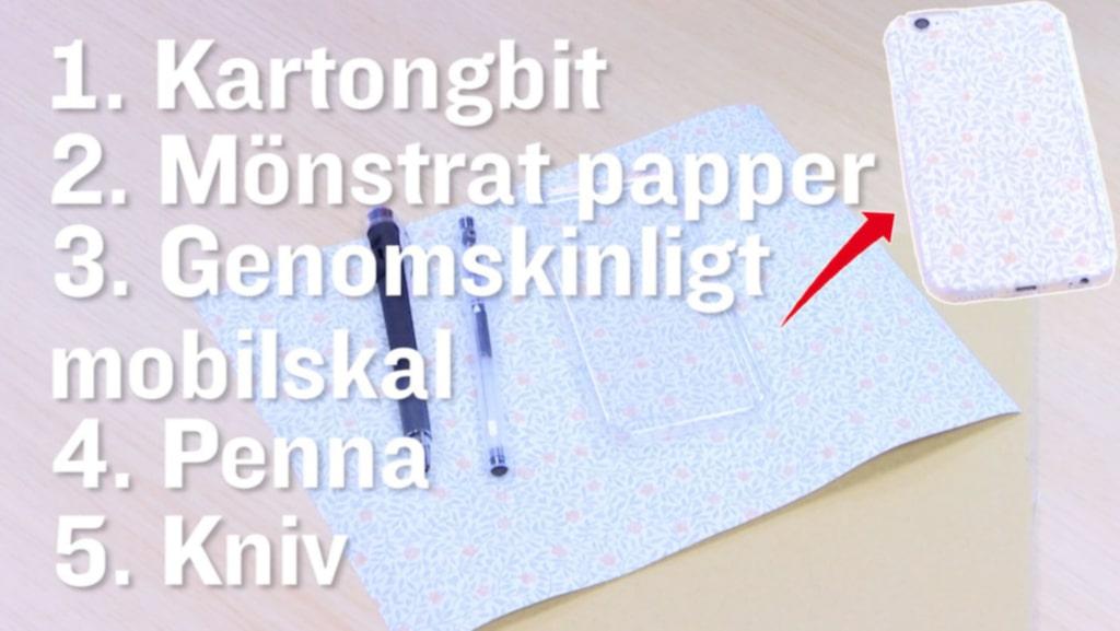 Pryd telefonen med tapet eller mönstrat papper. Här har vi använt tapeten Soho grön, 870 kronor/rulle, Sandberg.