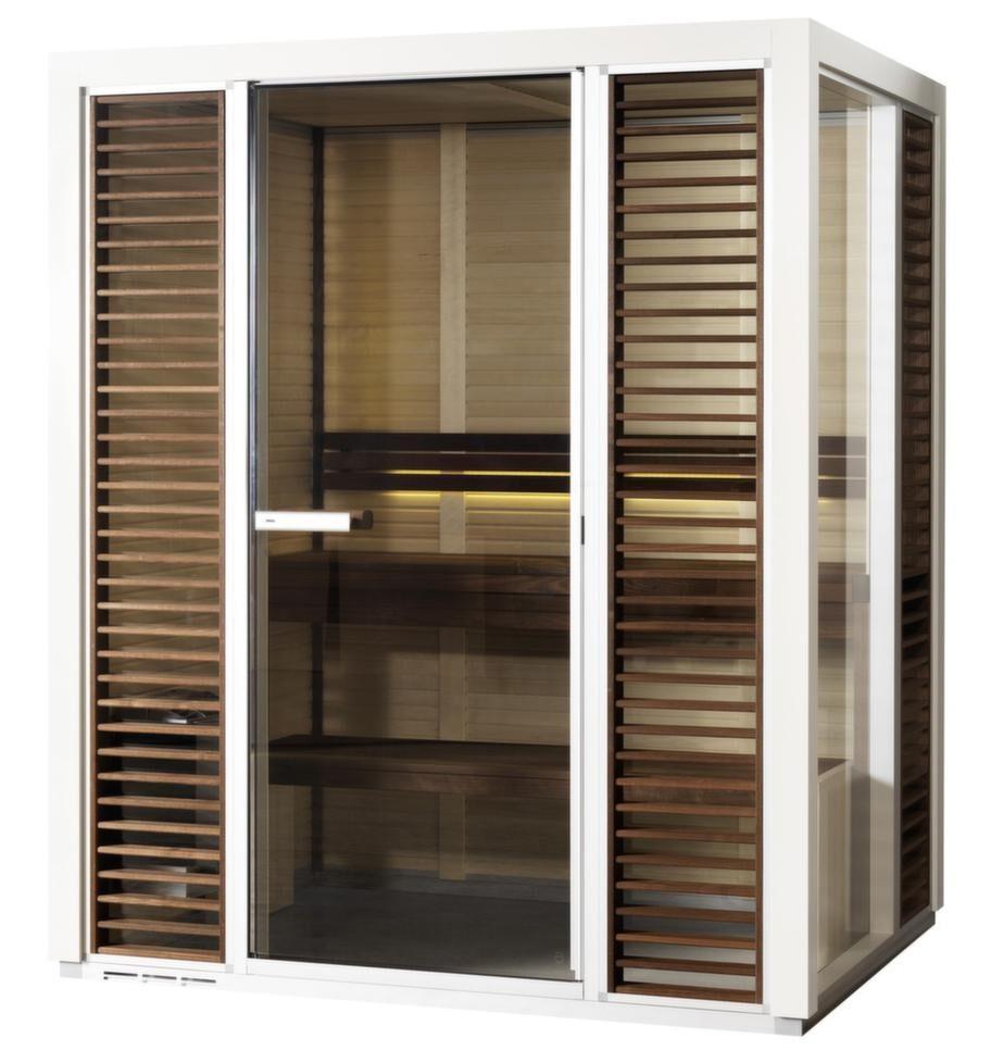 Tylö bastu i1309<br><br>Kapacitet: 1-2 personer. Yttermått: 210x132,5x92,5 cm. Aggregat: 4,5 kW. Dörr: Glas. Material i vägg: Asp. Material på lavar/bänkar: Ask. Lägsta rumshöjd för montage: 2,11 meter.<br>Tylös bastulösning, som kan innehålla både en traditionell bastu och en mildare ångbastu, ska  rymmas på en yta mindre än 1,3 kvm. De två trälavarna är gjorda av värmebehandlad ask och väggarna är klädda av blond asp. Det avtagbara jalusiet ska underlätta vid rengöring. Basturummet levereras med en hygrometer/termometer med inbyggd LED-belysning. Vid monteringen knäpps profilerna ihop utan skruvar.<br>Cirkapris: 41 100 kronor