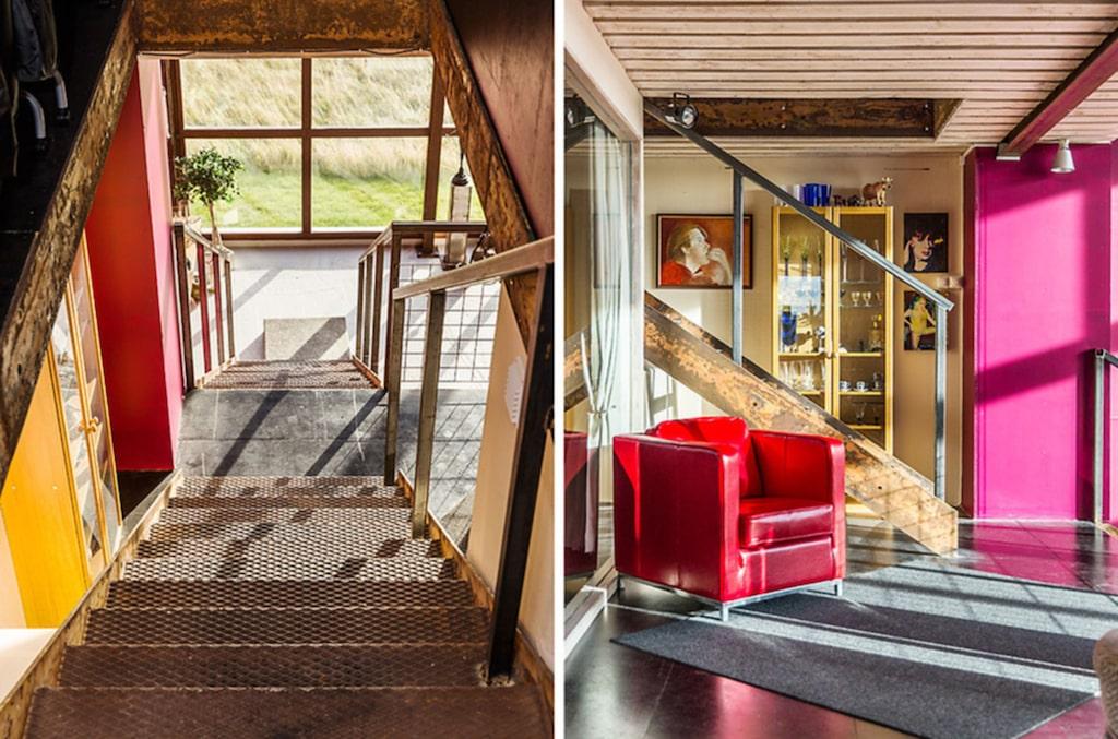 Den tredje våningen är ett entresolplan med öppen planlösning som i dag används till gäster.