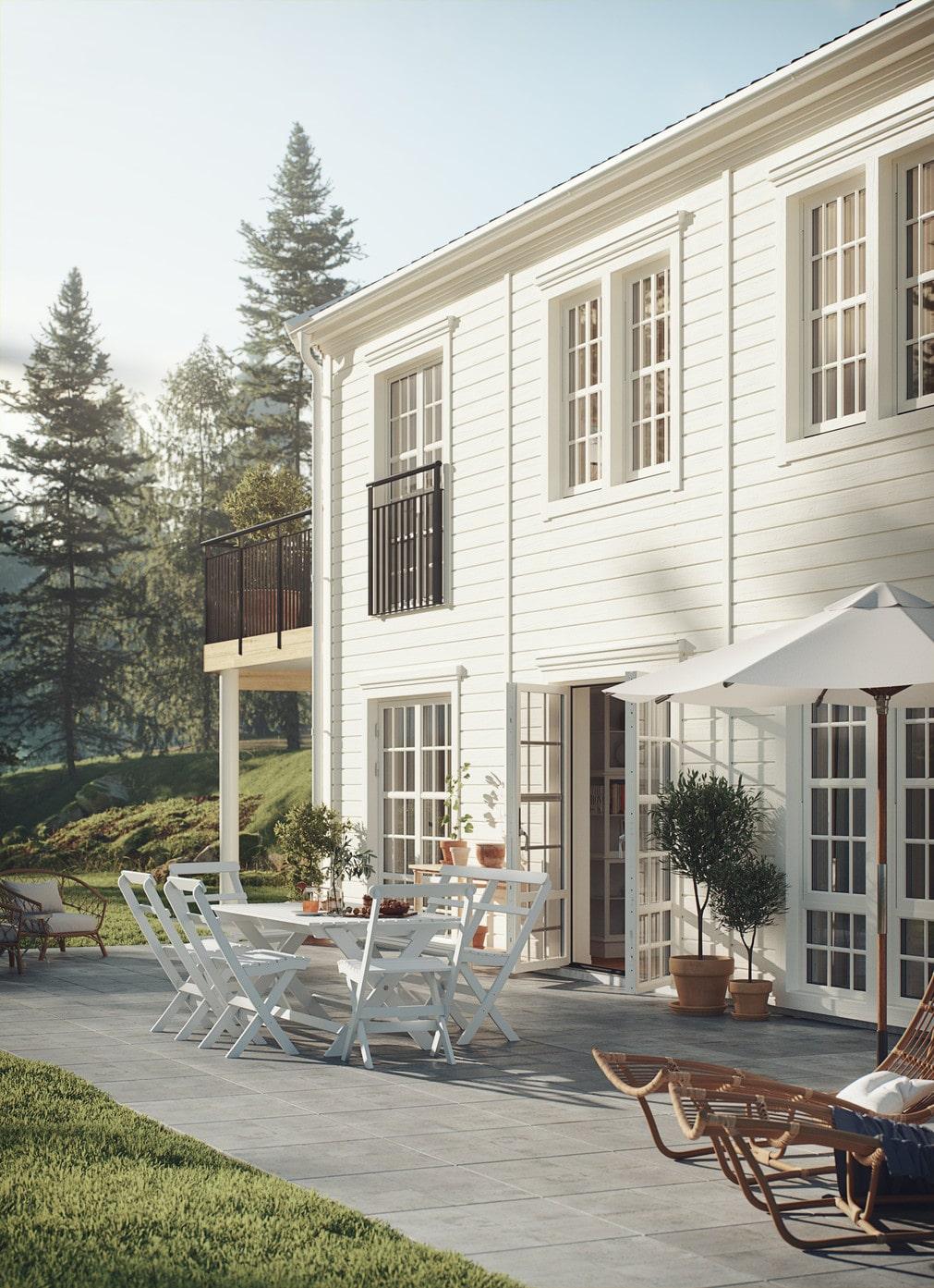 Huset går att får tre olika stilar, modern, New England eller industriell.