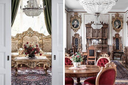 Möblerna består av äkta bladguld och kristallkronor finns i alla 22 rum, även kök och badrum.