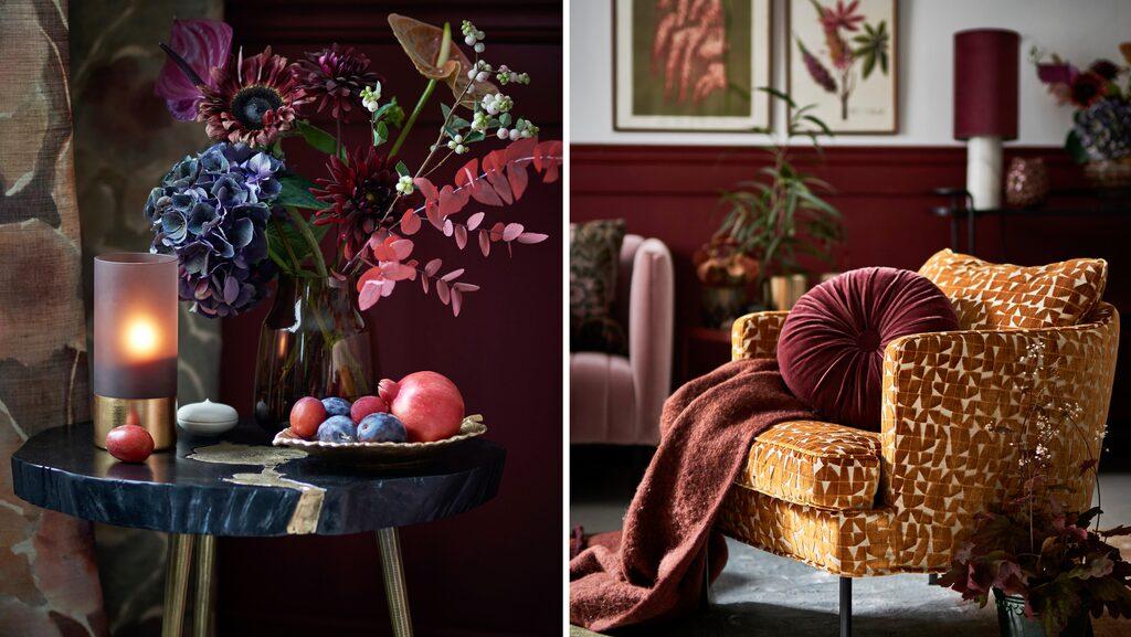 Mustigt vardagsrum med sammet, mässing och rött.