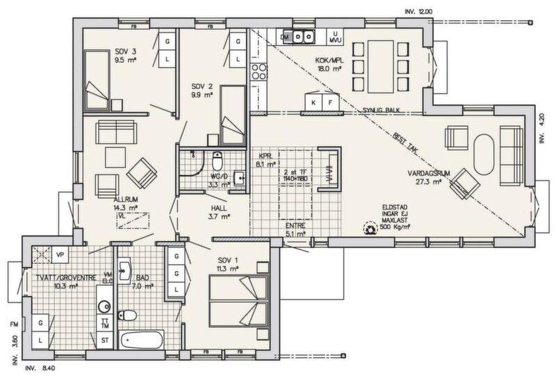 Stora öppna ytor<br>Det här är en rätt smart planerad villa som på relativt liten yta får stora öppna ytor för samvaro och en privatare del med tre sovrum och ett avskilt allrum. Det resta taket ger stor rymd i kök och allrum. Allrummet har höga fönster mot trädgården som nås via dubbeldörrarna. Köket har lite klent med arbetsytor men en hyfsat stor matplats. Via dubbeldörren når man direkt uteplatsen under tak. Uteplatsen kan glasas in eller byggas om till ett riktigt rum. Sovrumsavdelningen har en stor tvättstuga. Föräldrarna har en egen ingång till badrummet från sitt sovrum. Huset har en fin entré med ljus från takfönster. Direkt innanför ytterdörren har man omedelbar överblick över alla sällskapsutrymmen.