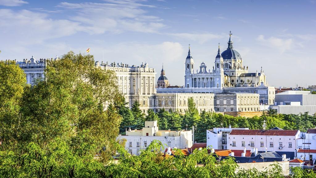 Vy över centrala Madrid.