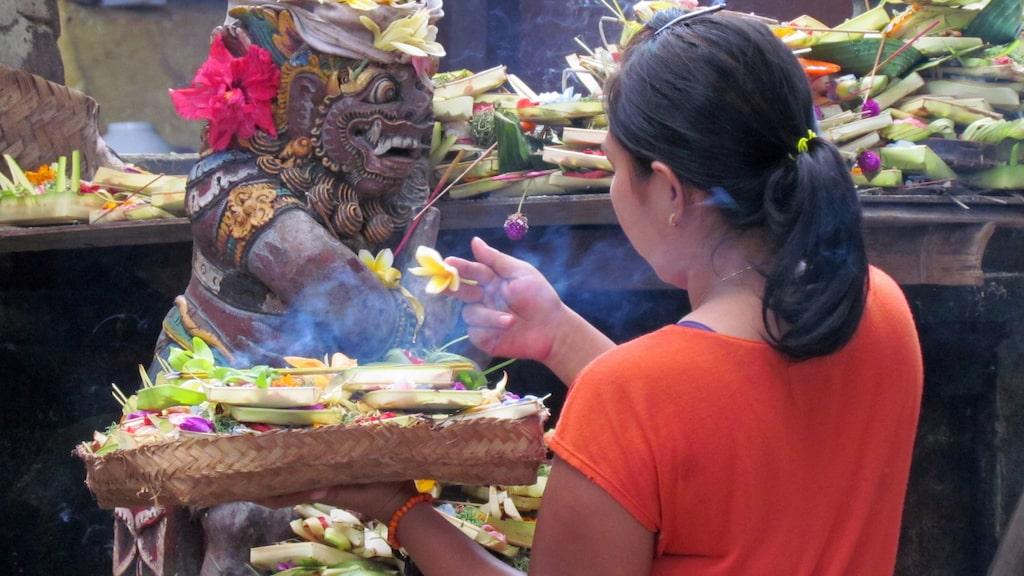 En kvinna utför de dagliga offerrutinerna i kvarterstempel på Bali.