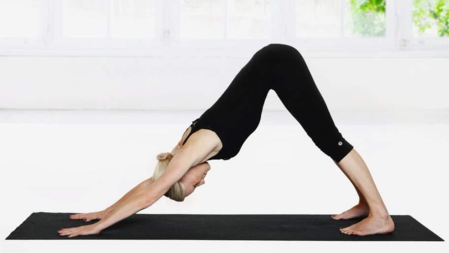 <strong>4 Hunden</strong><br>Sätt ner händerna i mattan under axlarna och kliv sakta bakåt med fötterna till Hunden. Det är viktigare att kraften kommer från händerna och att du sträcker ut ryggraden än att komma ner med hälarna i mattan. Minska på trycket i axlarna genom att böja lätt på benen. För isär skulderbladen. Andas.