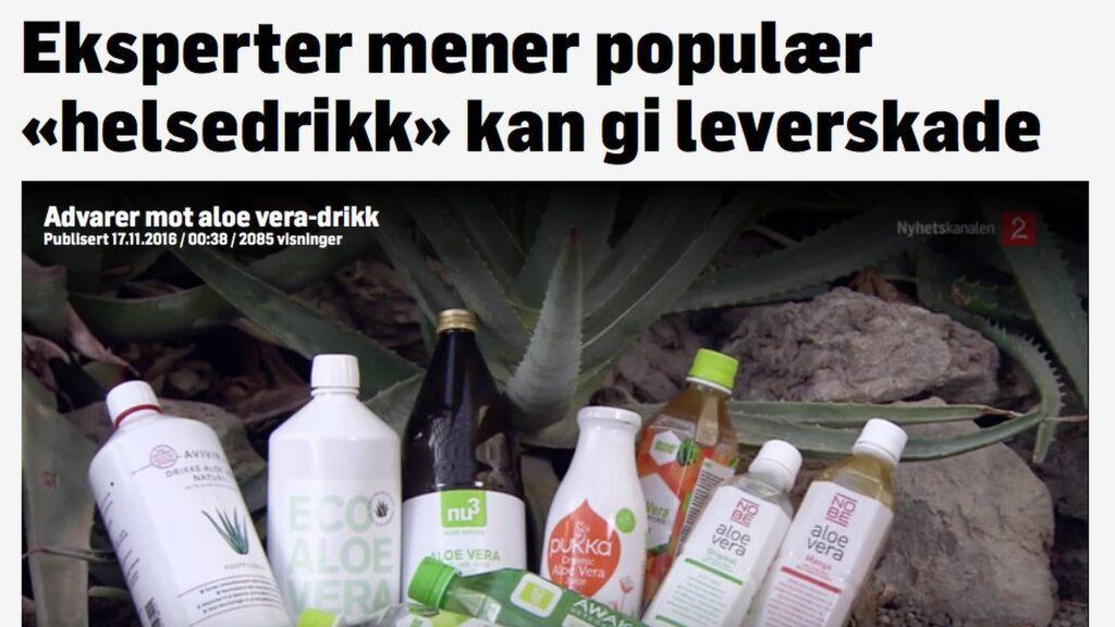 """<p>Enligt en undersökning på uppdrag av norska <a href=""""http://www.tv2.no/nyheter/8733195/"""">TV2.no</a> är de populära aloe vera-dryckerna helt onödiga och i värsta fall farliga.</p><p>Faksimil från norska TV2.<br></p>"""