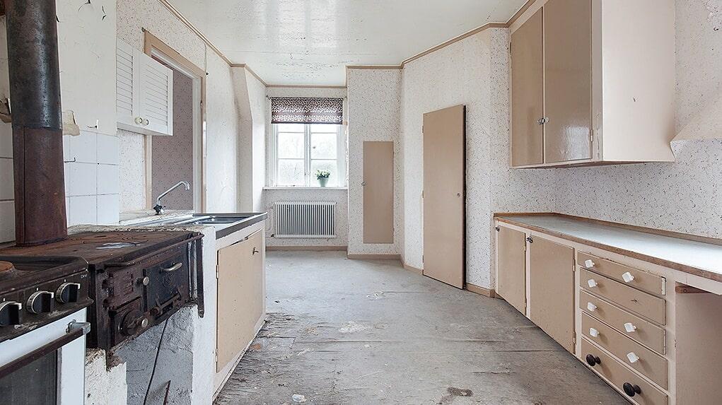 Även köket ligger på övervåningen.