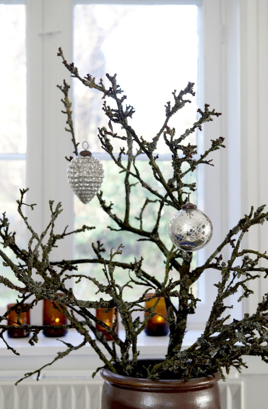 Vardagsrummet är dekorerat med en stor kvist som Maj hängt silverkulor i.