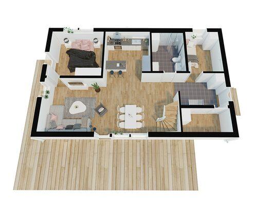 Entréplan i villan Home #602 från Movehome.