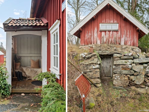 Entrén in till stugan och dörr till jordkällare.