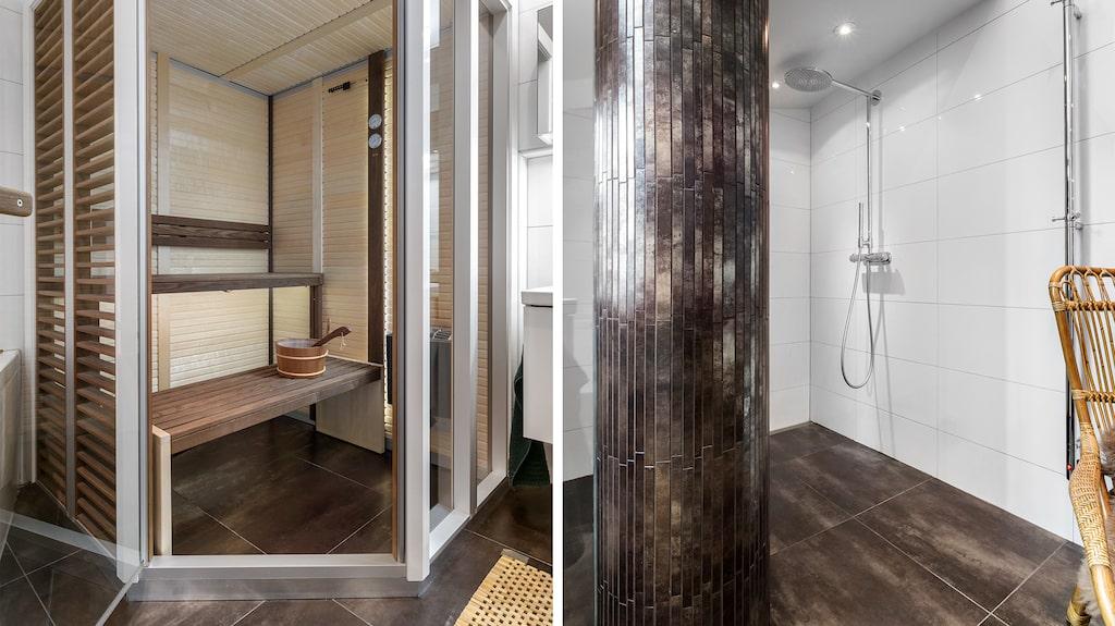 Badrummet är stort och har bland annat bastu och takdusch.