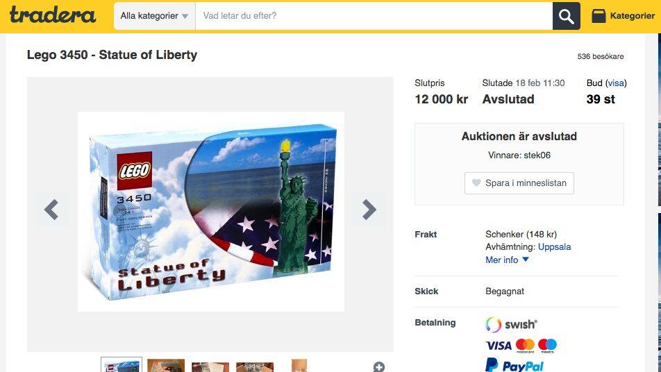 Legoannonsen på Tradera inbringade 12 000 kronor åt Rickard Wikander.