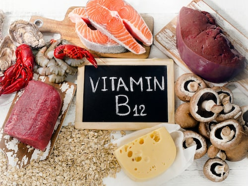 B12 finns i fisk, lever, kött och ägg