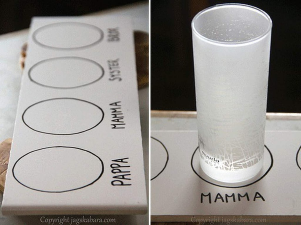 Bloggaren bakom jagskabara.com har använt överblivet kakel för att göra den här smarta glaslösningen.