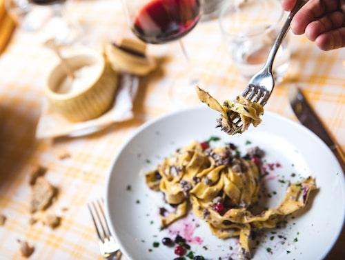 Pastarätter står självklart på menyn i San Martino di Castrozza – här på restaurang Albergo Vezzana.