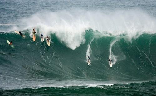 Vågorna lockar surfarna till Hawaii.
