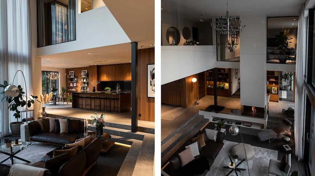 Öppet mellan vardagsrum och kök.