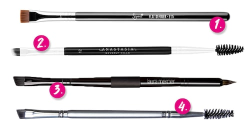 1. Sigma E15 Flat definer brush. 2. Anastatisa Beverly Hills #12 Duo brush. 3. Laura Mercier Sketch & intensify double ended brush. 4. Depend Eyebrow duo brush.