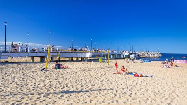 Stranden Sopot sträcker sig 15 kilometer.
