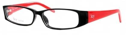 Färgglatt Svart plastbåge med röda skalmar från Icy eyewear  Netoptic.se fdc1d46239c41