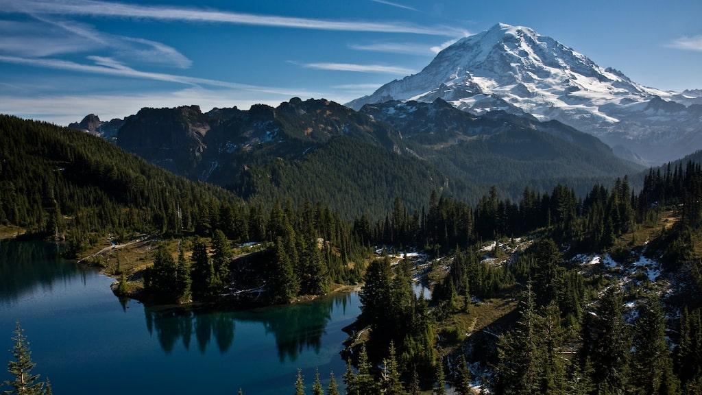 Lämna citypulsen och besök Mount Rainiers nationalpark.