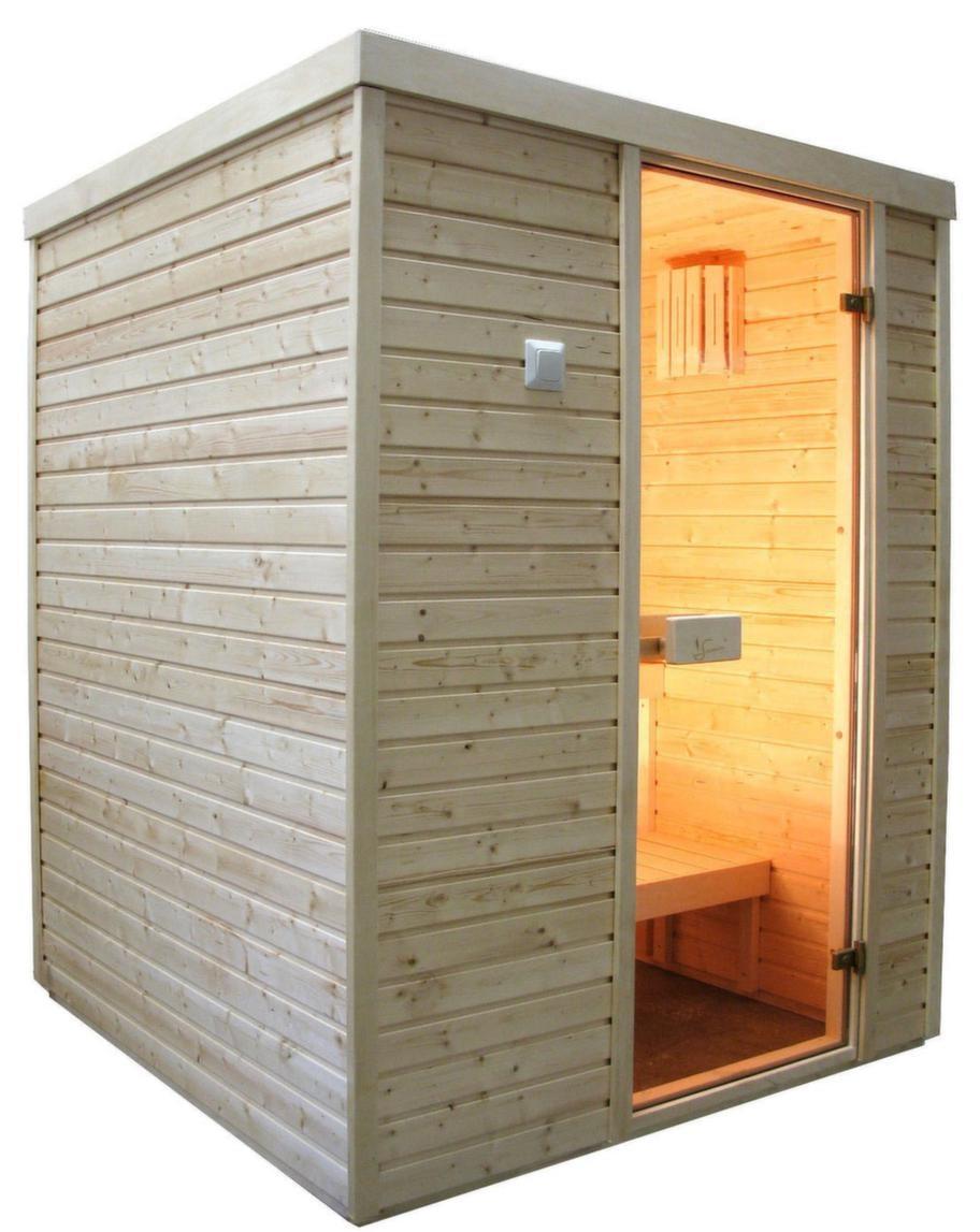 Basturum Saunax 150x150 i gran<br>Kapacitet: 3-4 personer. Yttermått: 197x150x150 cm. Aggregat: 3,6 kW. Dörr: Glas. Material i vägg: Gran. Material på lavar/bänkar: Asp. Lägsta rumshöjd för montage: 2,05 meter.<br>Basturummet, med paneler i gran, byggs i Estland. Rummet är panelad på tre sidor och den bakre väggen består av plywood. Väggarna består av sektioner som ställs upp och skruvas fast i varandra. Bastun levereras komplett med aggregat och stenar.<br>Cirkapris: 17 500 kronor