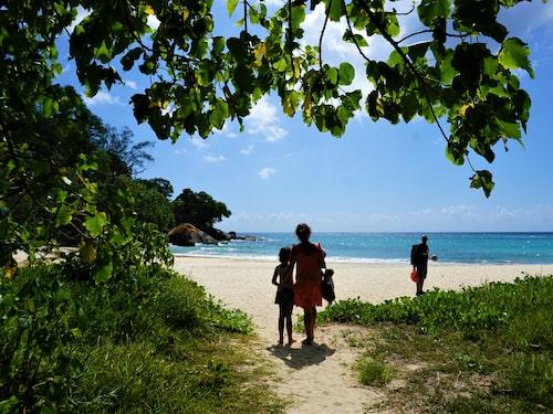 Huvudön Mahé är perfekt för strandluffing, här Anse Louis vid hotell Maia.