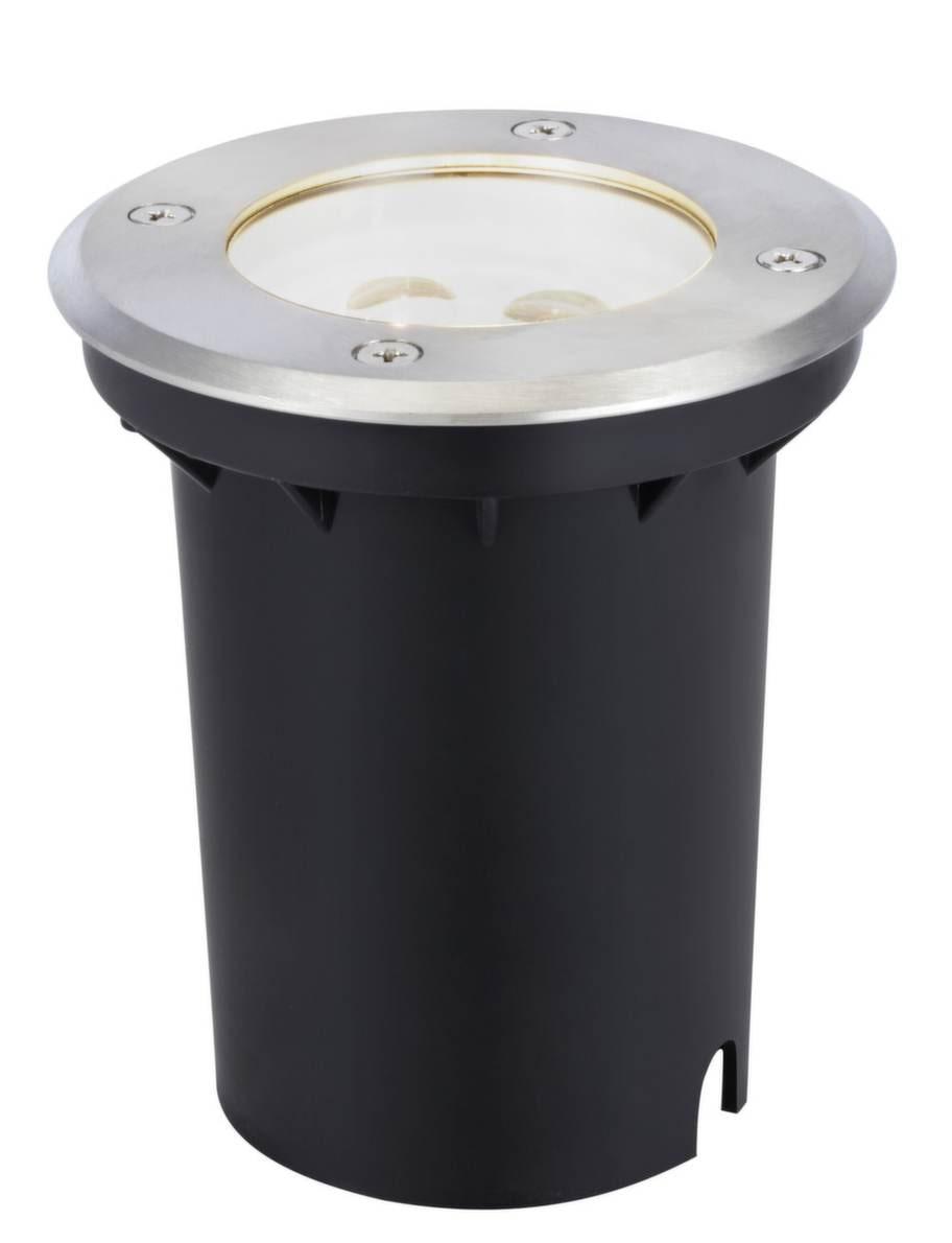 Lyser upp. Stor cylinderformad spot för att belysa hus och träd, 675 kronor, Markslöjd.