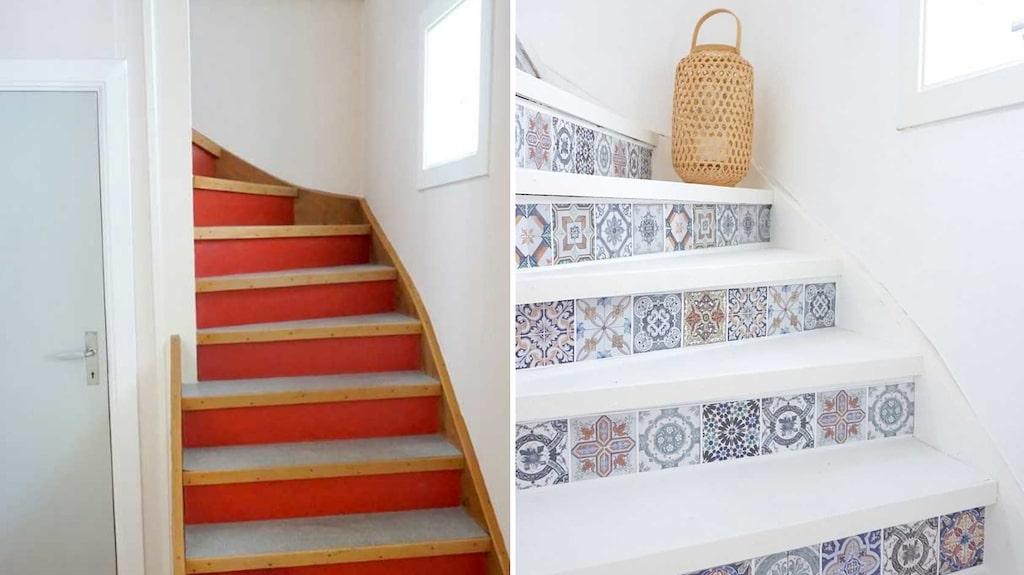 Med endast lite målarfärg och billig dekorplast blev trappan som ny. Läs nedan hur hon gjorde!