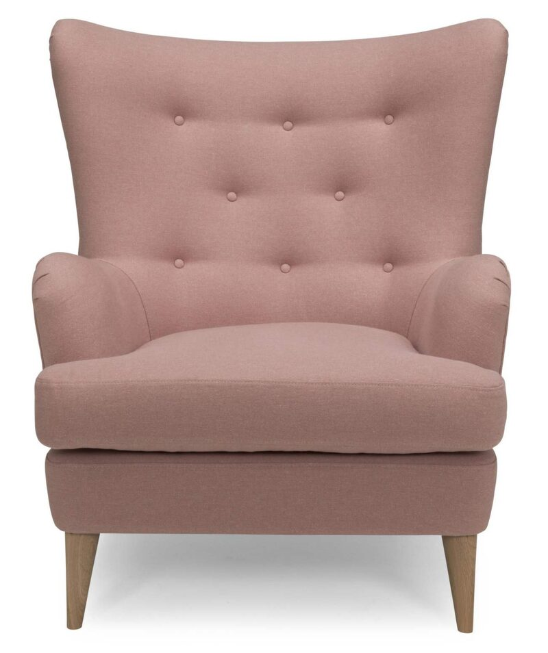 Fåtöj Joy i rosa tyg, från 6 820 kronor, Svenska hem.