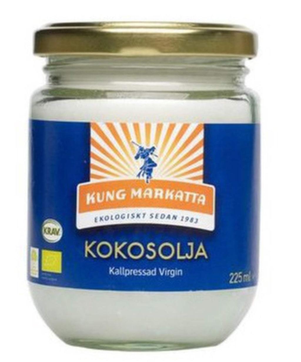 """Kallpressad kokosolja, Kung Markatta, 225 ml, 41 kronor, <a href=""""http://www.apotea.se/kung-markatta-kokosolja-virgin-225-ml"""">Apotea.se</a>."""