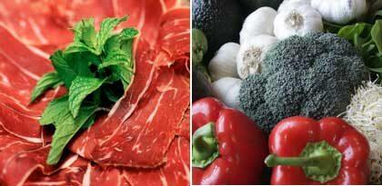 Kött och grönsaker är vanliga i atkinsdieten.