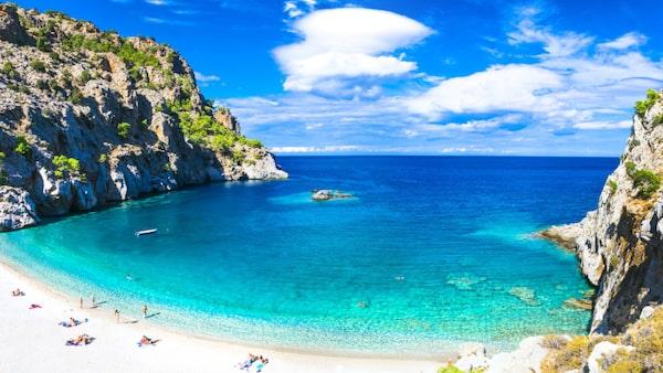 """Achata Beach på Karpathos. Ön kallas ibland för """"Rhodos lillasyster""""."""